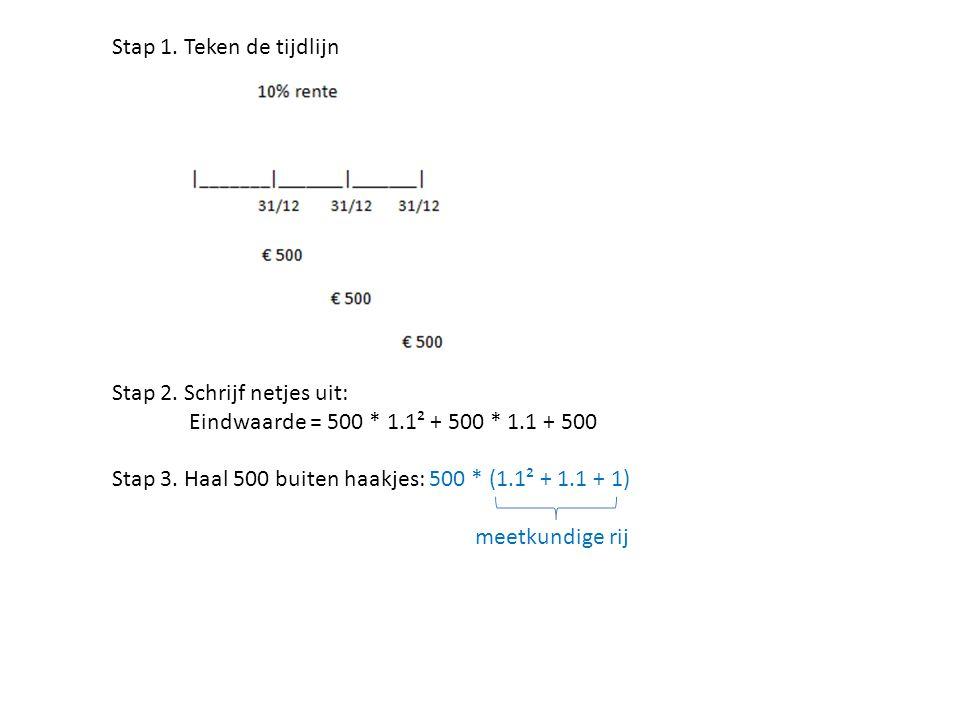 Stap 1. Teken de tijdlijn Stap 2. Schrijf netjes uit: Eindwaarde = 500 * 1.1² + 500 * 1.1 + 500.