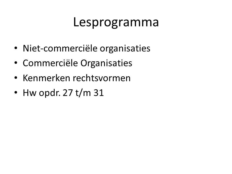 Lesprogramma Niet-commerciële organisaties Commerciële Organisaties