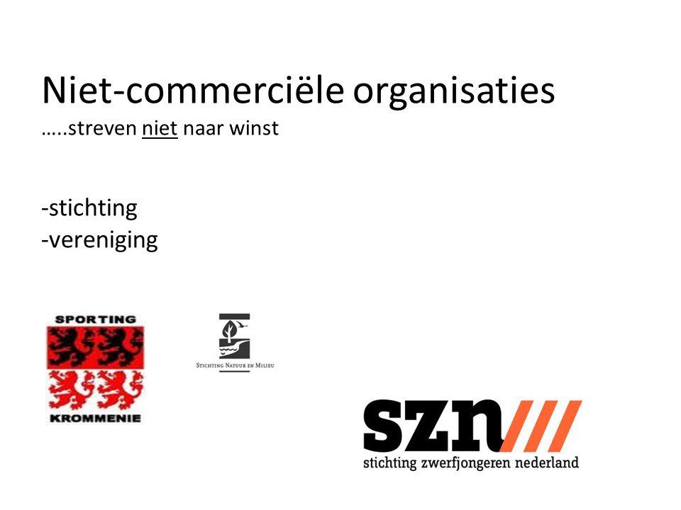 Niet-commerciële organisaties …
