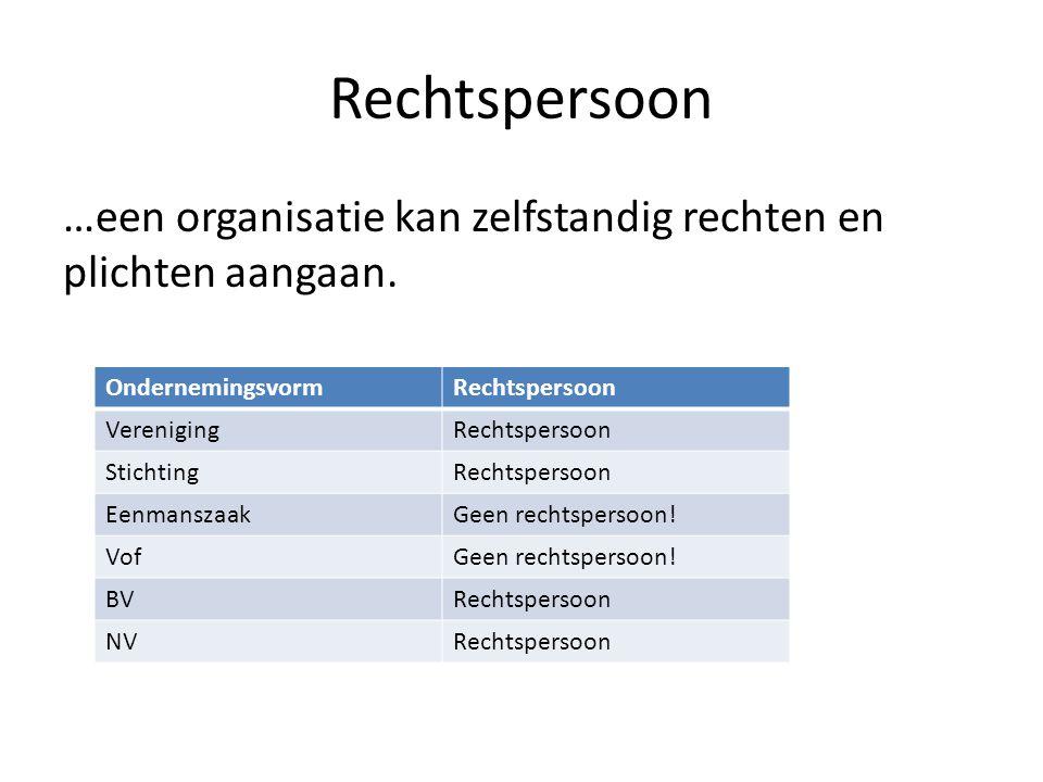 Rechtspersoon …een organisatie kan zelfstandig rechten en plichten aangaan. Ondernemingsvorm. Rechtspersoon.