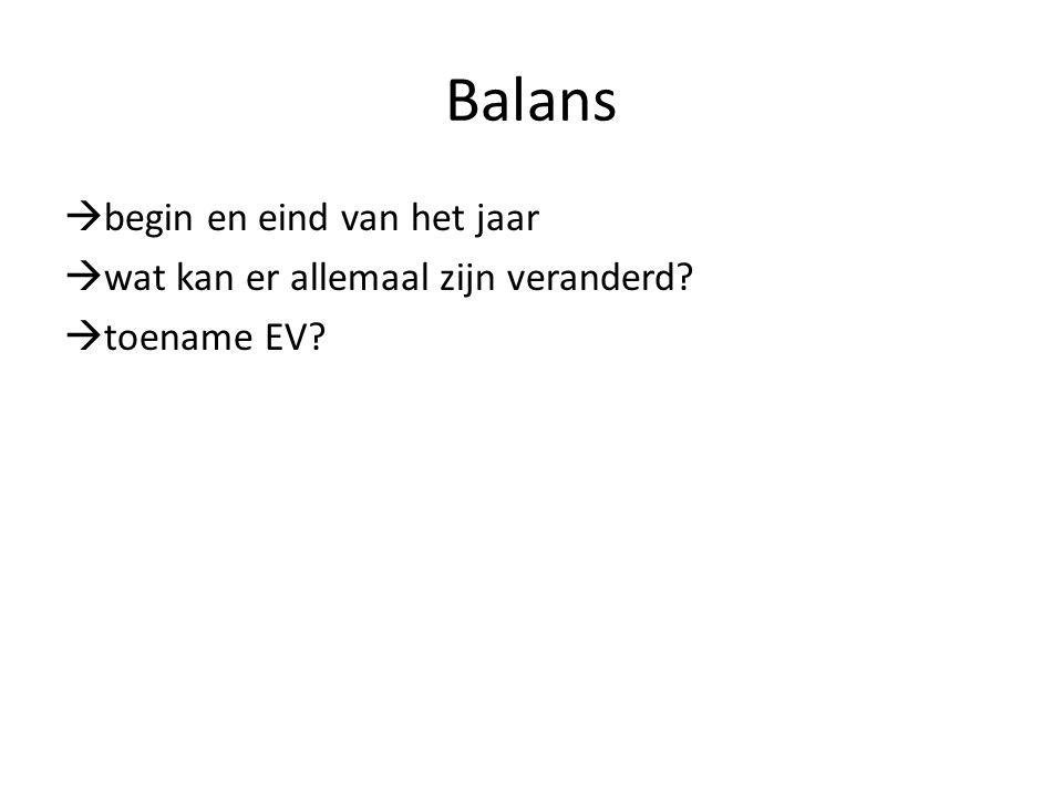 Balans begin en eind van het jaar wat kan er allemaal zijn veranderd toename EV