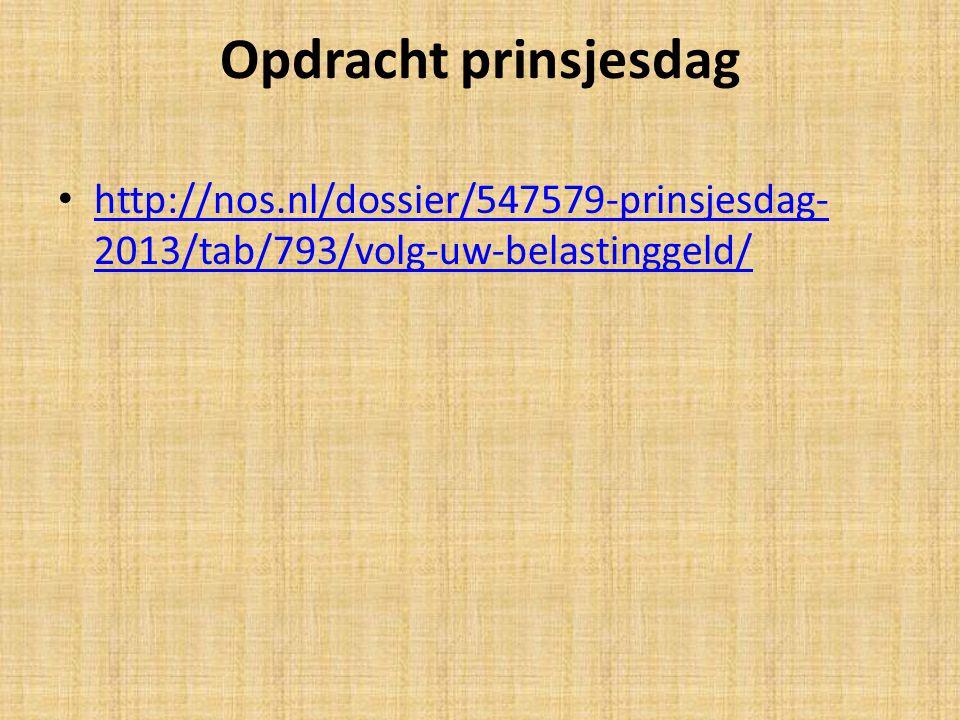 Opdracht prinsjesdag http://nos.nl/dossier/547579-prinsjesdag-2013/tab/793/volg-uw-belastinggeld/ Voor de E klas: