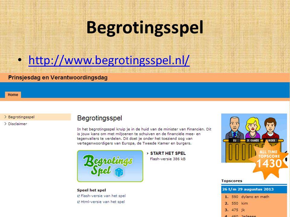 Begrotingsspel http://www.begrotingsspel.nl/ Met de D klas