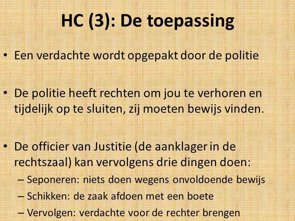 HC (3): De toepassing Een verdachte wordt opgepakt door de politie