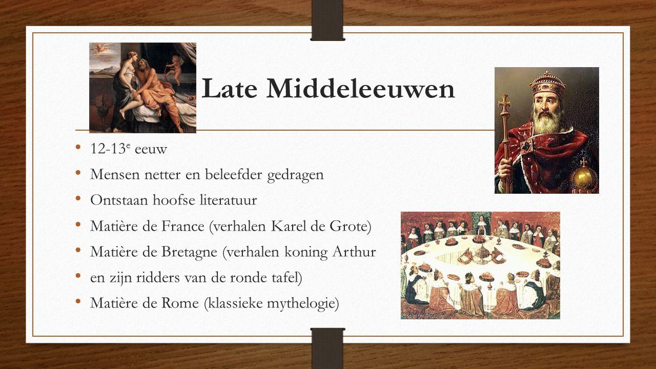 Late Middeleeuwen 12-13e eeuw Mensen netter en beleefder gedragen