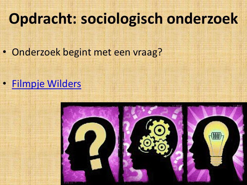 Opdracht: sociologisch onderzoek