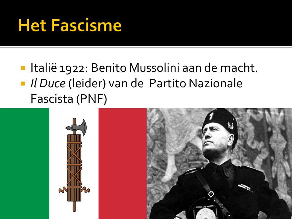 Het Fascisme Italië 1922: Benito Mussolini aan de macht.