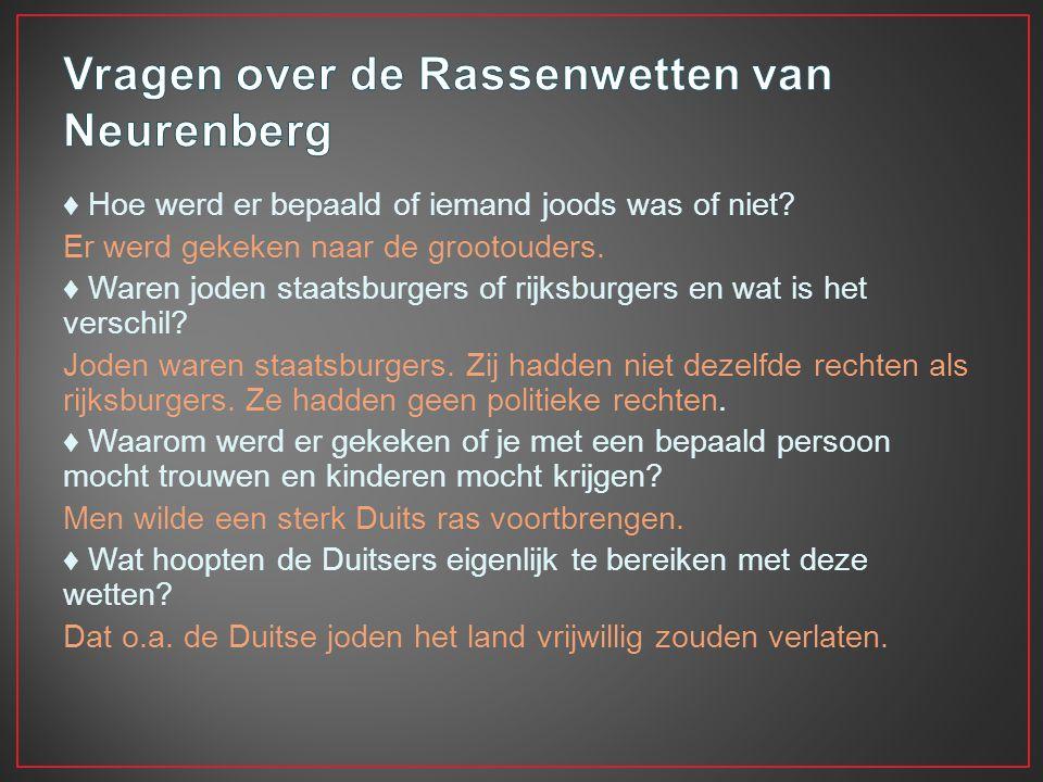 Vragen over de Rassenwetten van Neurenberg