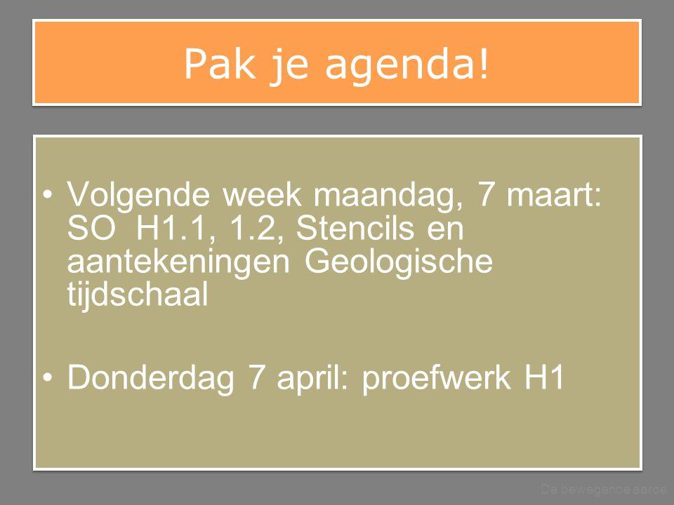 Pak je agenda! Volgende week maandag, 7 maart: SO H1.1, 1.2, Stencils en aantekeningen Geologische tijdschaal.
