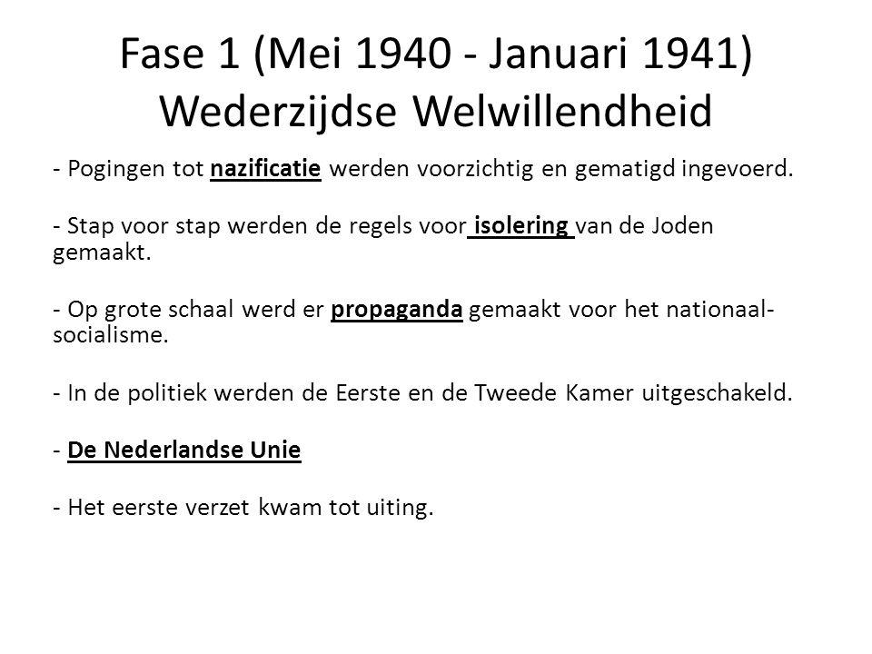 Fase 1 (Mei 1940 - Januari 1941) Wederzijdse Welwillendheid