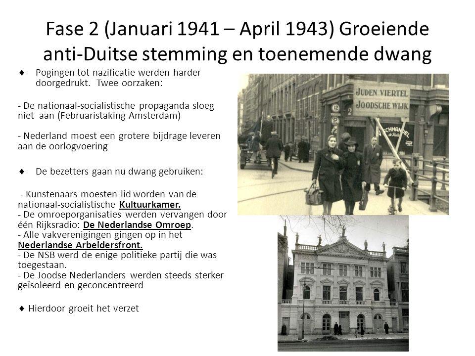 Fase 2 (Januari 1941 – April 1943) Groeiende anti-Duitse stemming en toenemende dwang