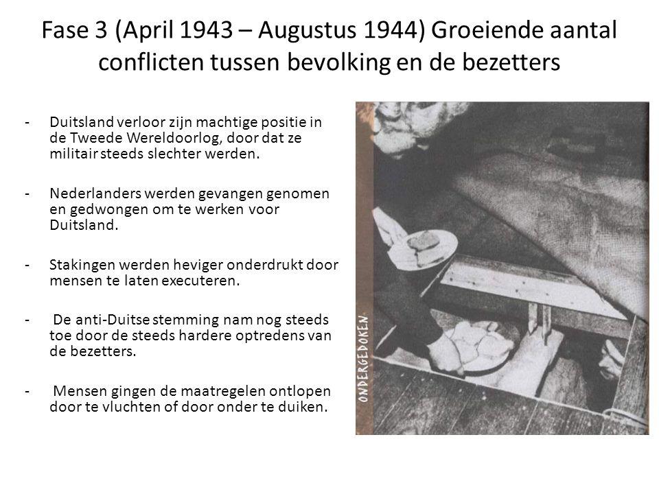 Fase 3 (April 1943 – Augustus 1944) Groeiende aantal conflicten tussen bevolking en de bezetters