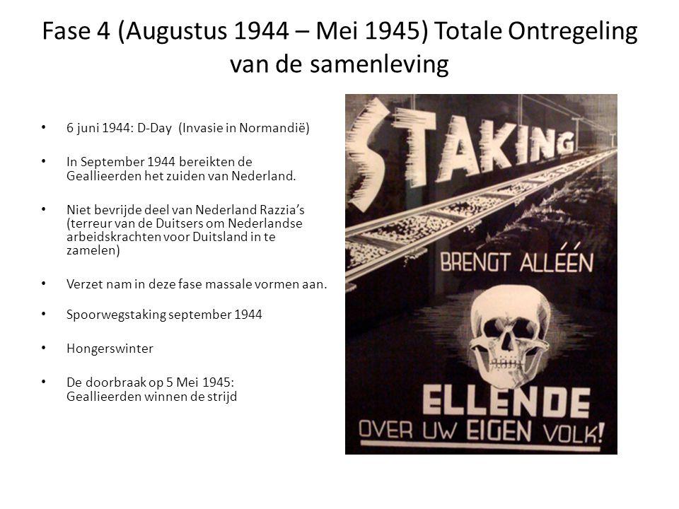 Fase 4 (Augustus 1944 – Mei 1945) Totale Ontregeling van de samenleving