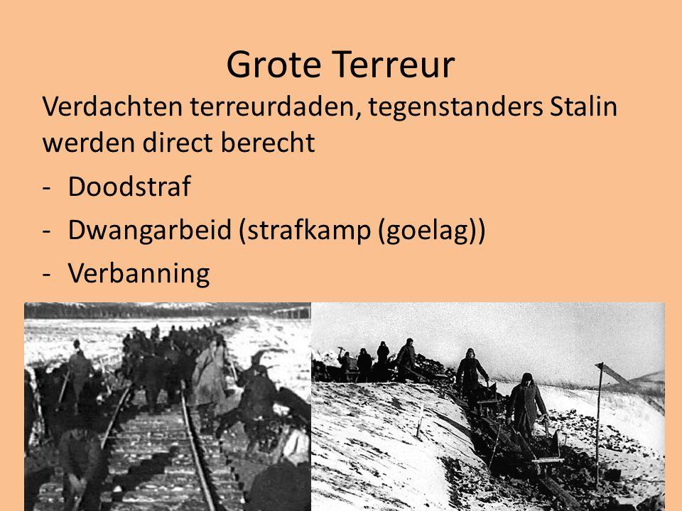 Grote Terreur Verdachten terreurdaden, tegenstanders Stalin werden direct berecht. Doodstraf. Dwangarbeid (strafkamp (goelag))