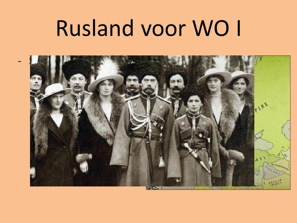 Rusland voor WO I Sinds 1547 Keizerrijk Tsaar Alleenheerser
