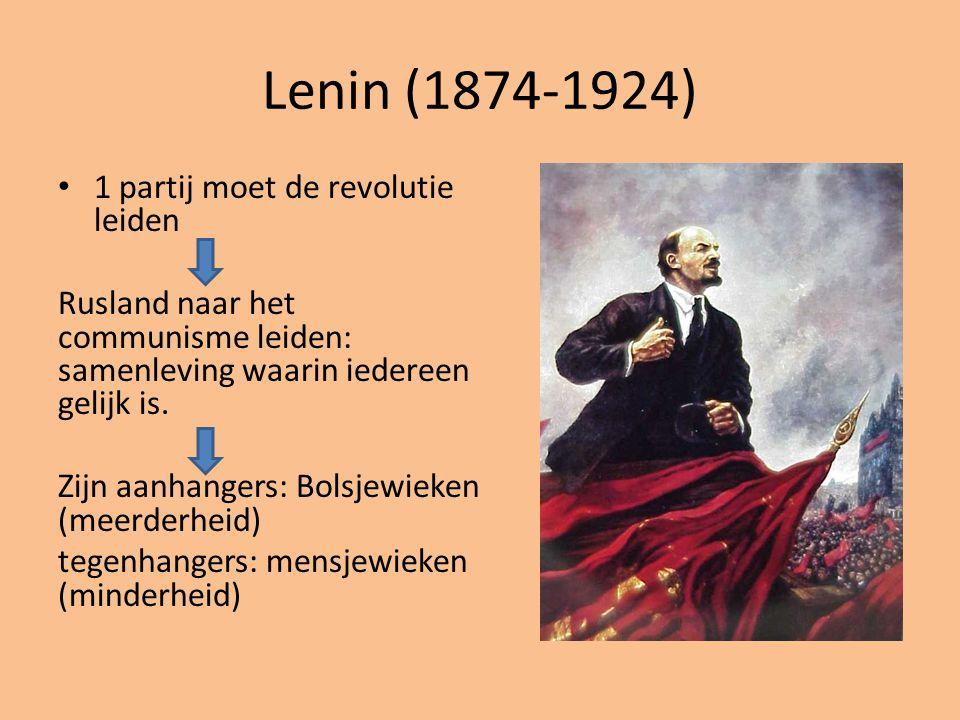 Lenin (1874-1924) 1 partij moet de revolutie leiden