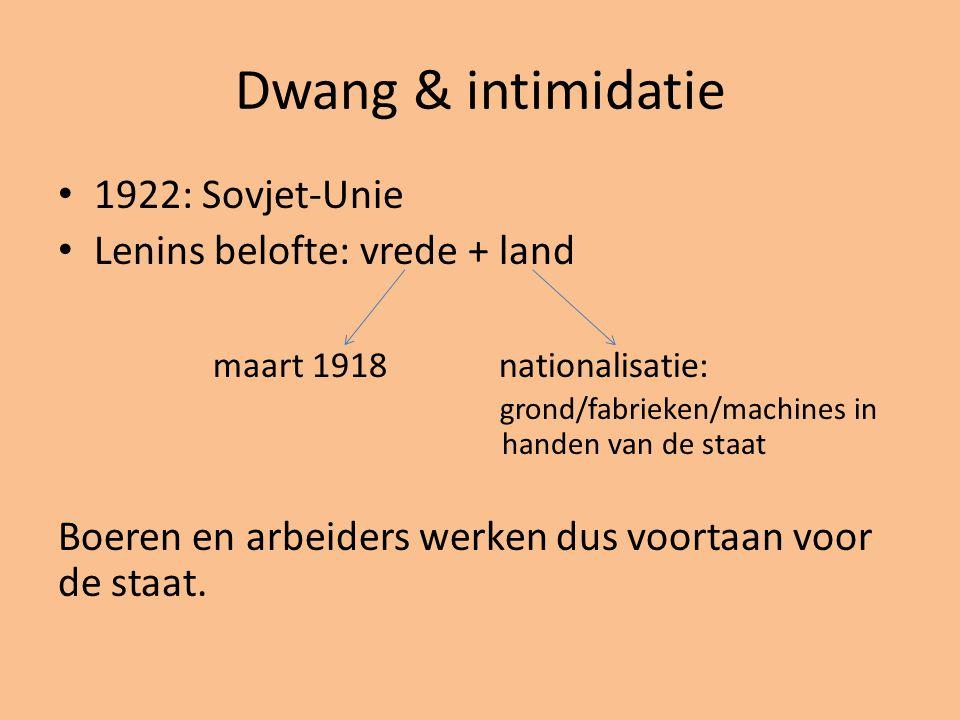 Dwang & intimidatie 1922: Sovjet-Unie Lenins belofte: vrede + land