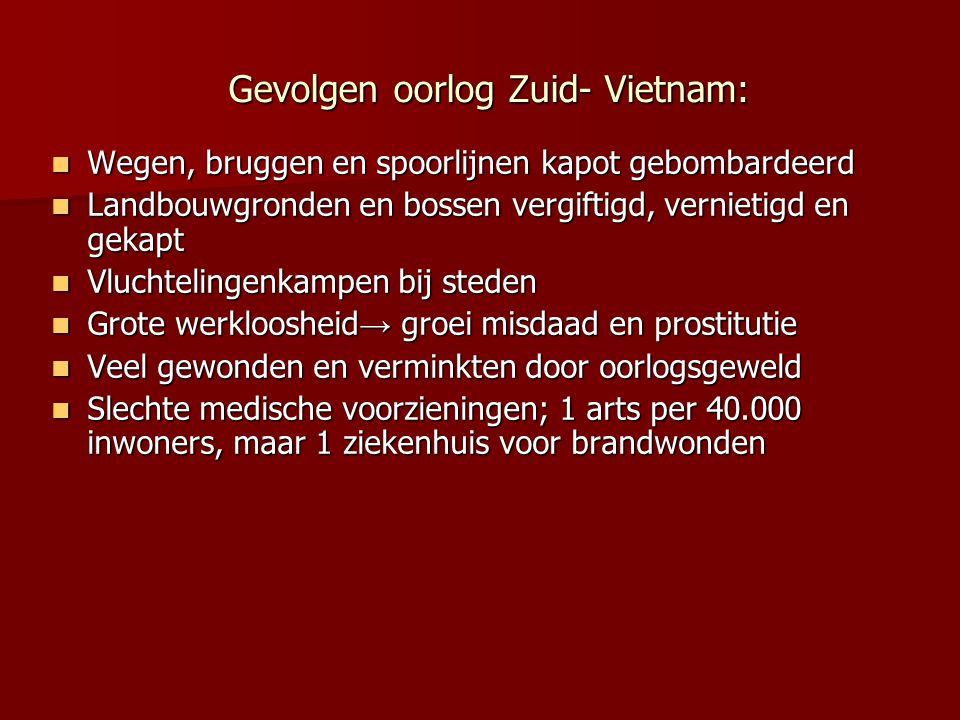 Gevolgen oorlog Zuid- Vietnam: