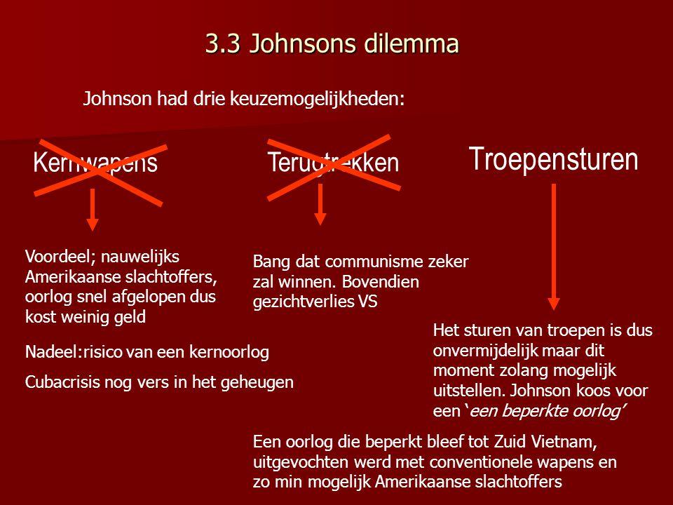 3.3 Johnsons dilemma Troepensturen Kernwapens Terugtrekken