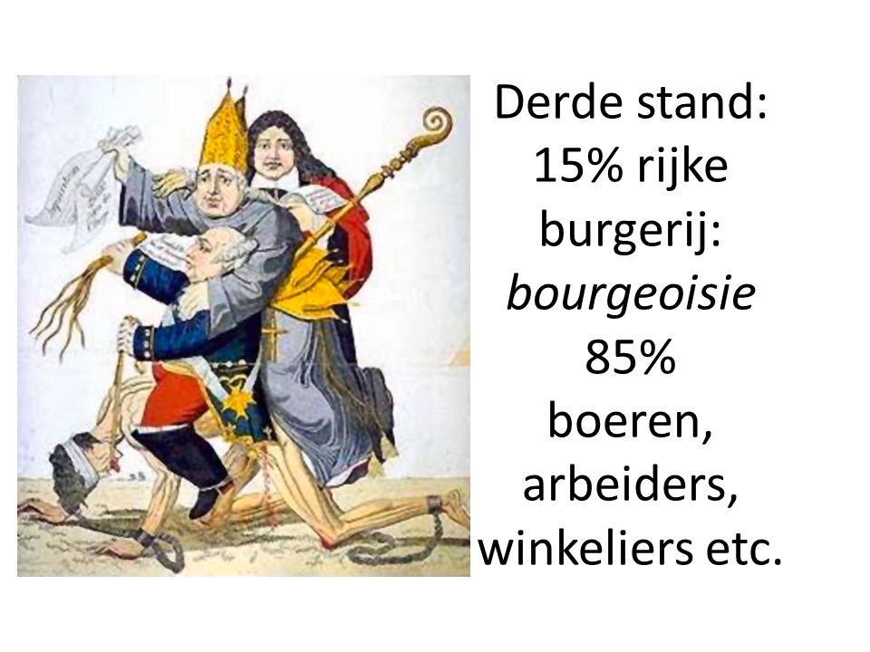 Derde stand: 15% rijke burgerij: bourgeoisie 85% boeren, arbeiders, winkeliers etc.