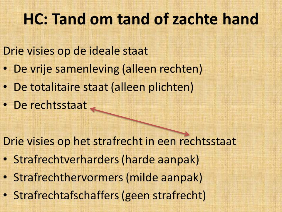 HC: Tand om tand of zachte hand