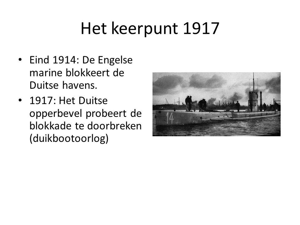 Het keerpunt 1917 Eind 1914: De Engelse marine blokkeert de Duitse havens.