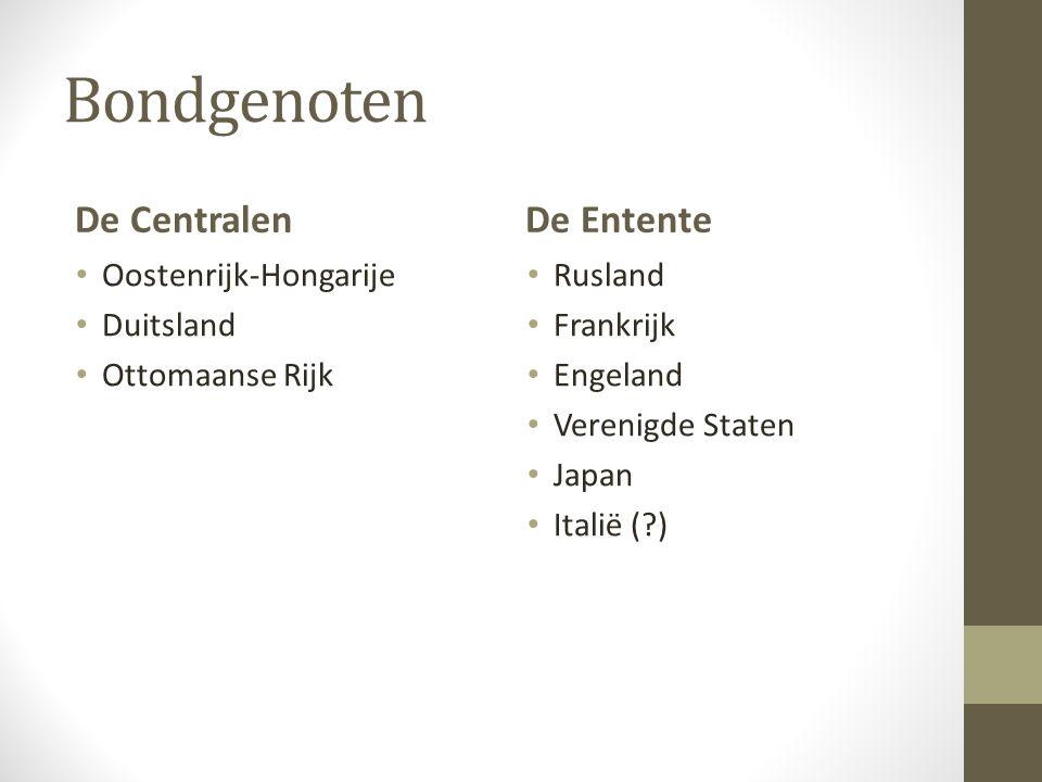 Bondgenoten De Centralen De Entente Oostenrijk-Hongarije Duitsland