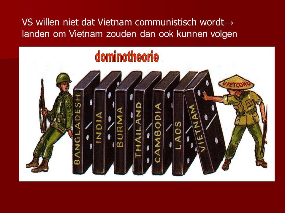 VS willen niet dat Vietnam communistisch wordt→ landen om Vietnam zouden dan ook kunnen volgen