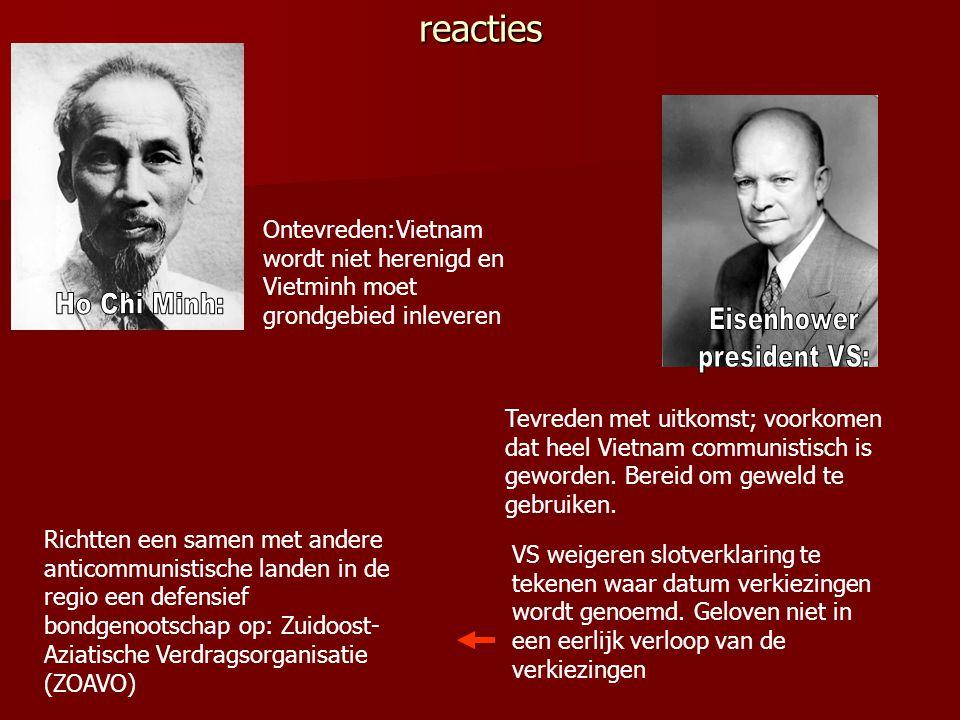 reacties Ontevreden:Vietnam wordt niet herenigd en Vietminh moet grondgebied inleveren. Ho Chi Minh: