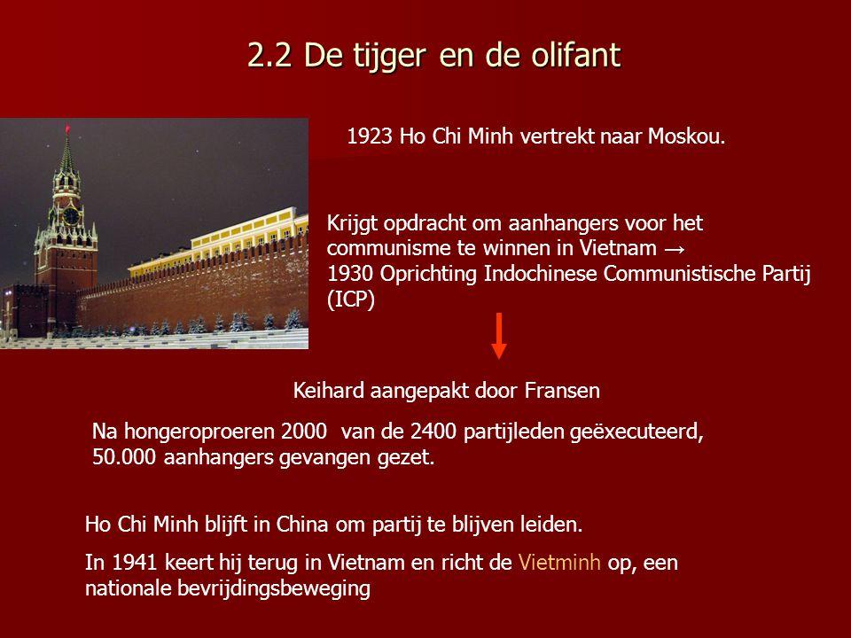 2.2 De tijger en de olifant 1923 Ho Chi Minh vertrekt naar Moskou.