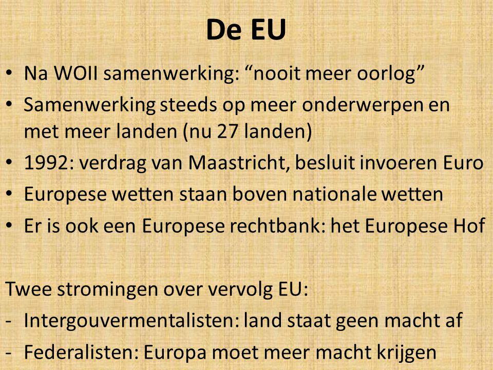 De EU Na WOII samenwerking: nooit meer oorlog