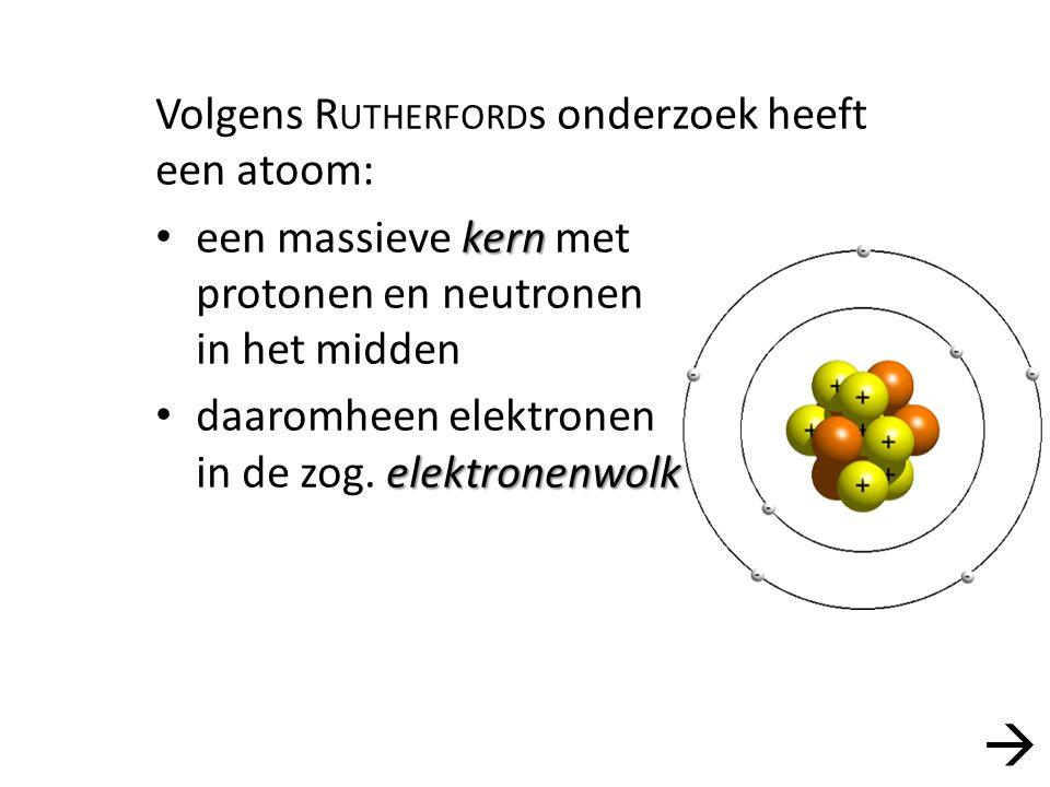  Volgens Rutherfords onderzoek heeft een atoom:
