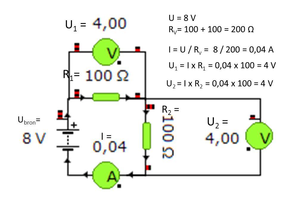 U1 = U = 8 V. RV= 100 + 100 = 200 Ω. I = U / Rv = 8 / 200 = 0,04 A. R1= U1 = I x R1 = 0,04 x 100 = 4 V.