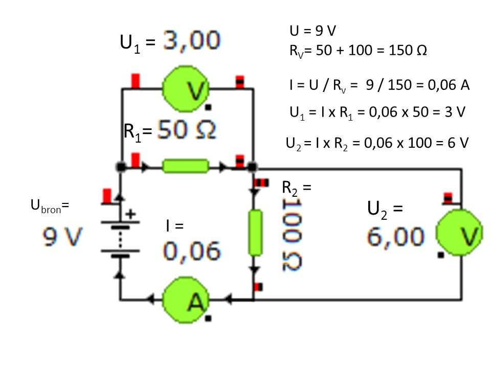 U1 = U = 9 V. RV= 50 + 100 = 150 Ω. I = U / Rv = 9 / 150 = 0,06 A. R1= U1 = I x R1 = 0,06 x 50 = 3 V.