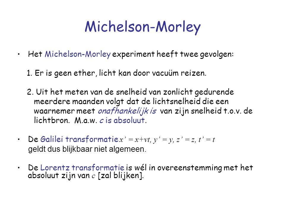 Michelson-Morley Het Michelson-Morley experiment heeft twee gevolgen: