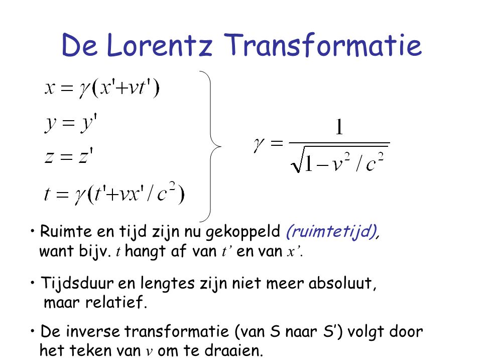 De Lorentz Transformatie