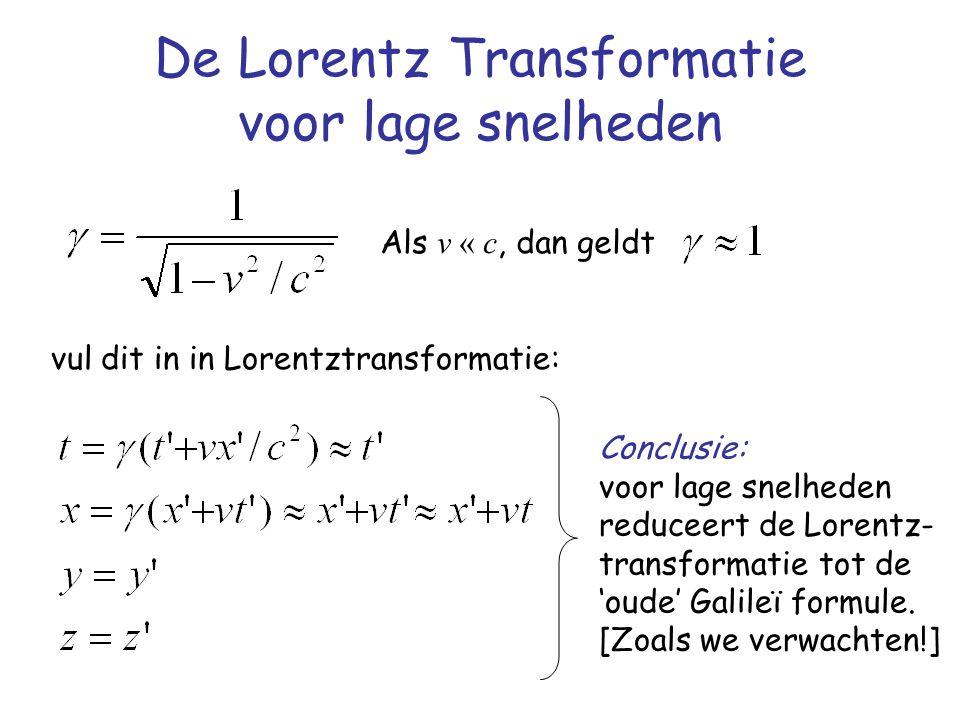 De Lorentz Transformatie voor lage snelheden