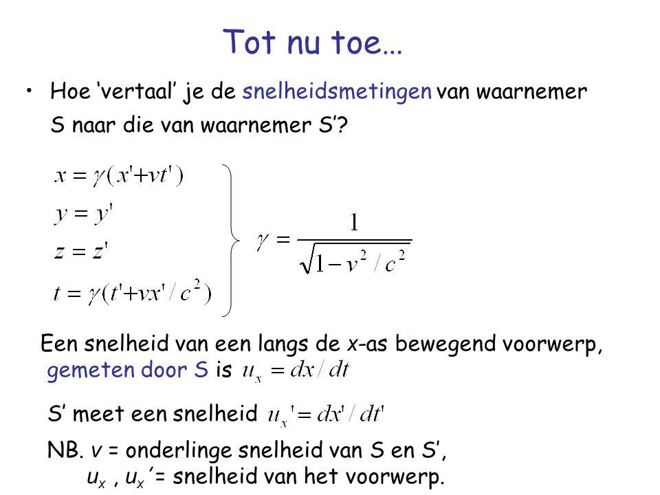 Tot nu toe… Hoe 'vertaal' je de snelheidsmetingen van waarnemer S naar die van waarnemer S' Een snelheid van een langs de x-as bewegend voorwerp,