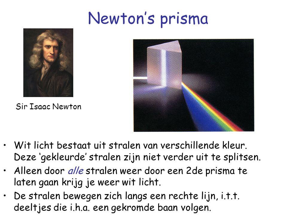 Newton's prisma Sir Isaac Newton. Wit licht bestaat uit stralen van verschillende kleur. Deze 'gekleurde' stralen zijn niet verder uit te splitsen.