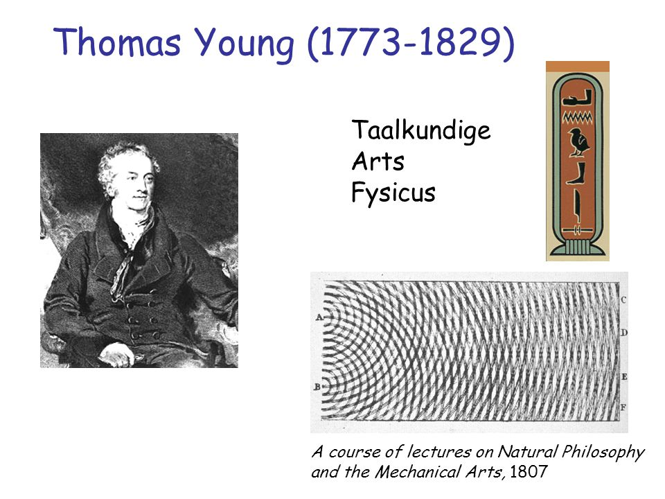 Thomas Young (1773-1829) Taalkundige Arts Fysicus