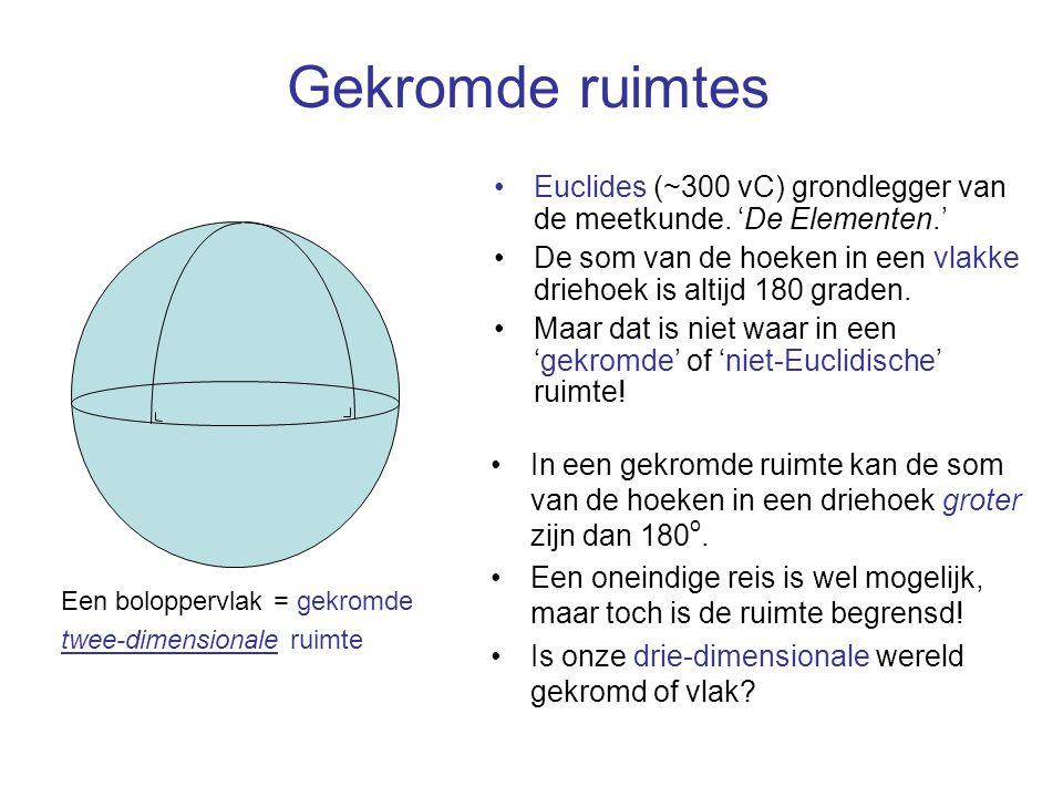 Gekromde ruimtes Euclides (~300 vC) grondlegger van de meetkunde. 'De Elementen.' De som van de hoeken in een vlakke driehoek is altijd 180 graden.