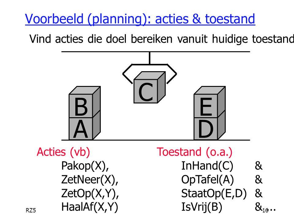 Voorbeeld (planning): acties & toestand