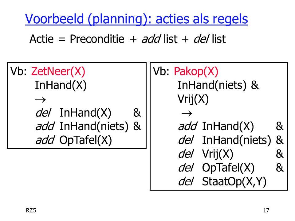 Voorbeeld (planning): acties als regels