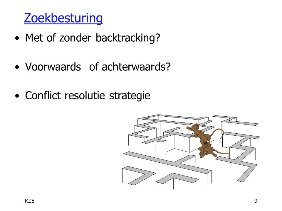 Zoekbesturing Met of zonder backtracking Voorwaards of achterwaards
