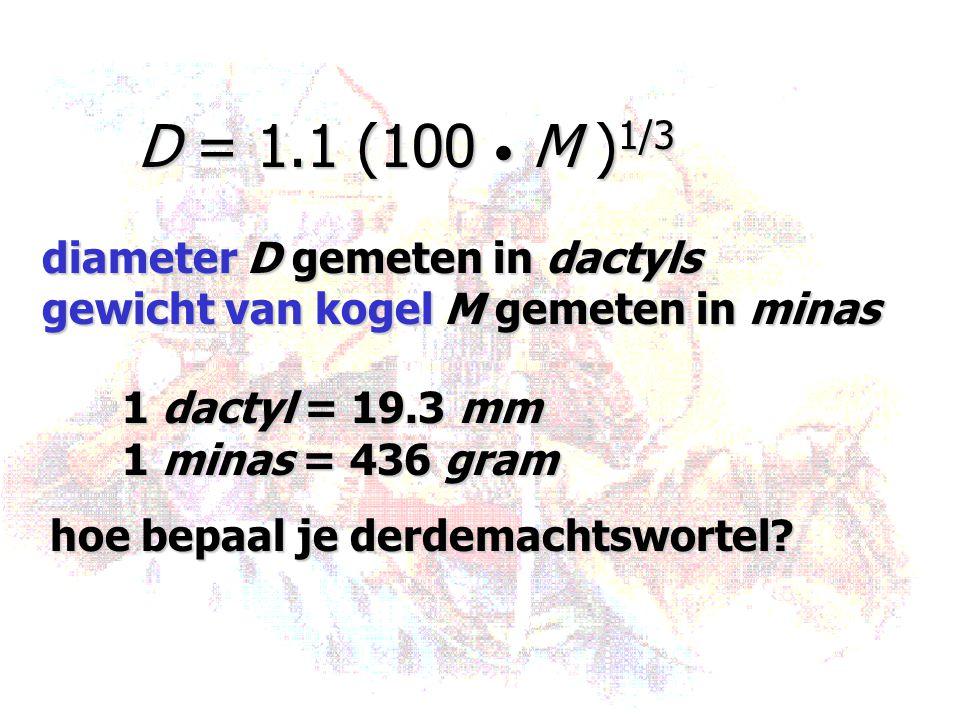 D = 1.1 (100 • M )1/3 diameter D gemeten in dactyls. gewicht van kogel M gemeten in minas. 1 dactyl = 19.3 mm.