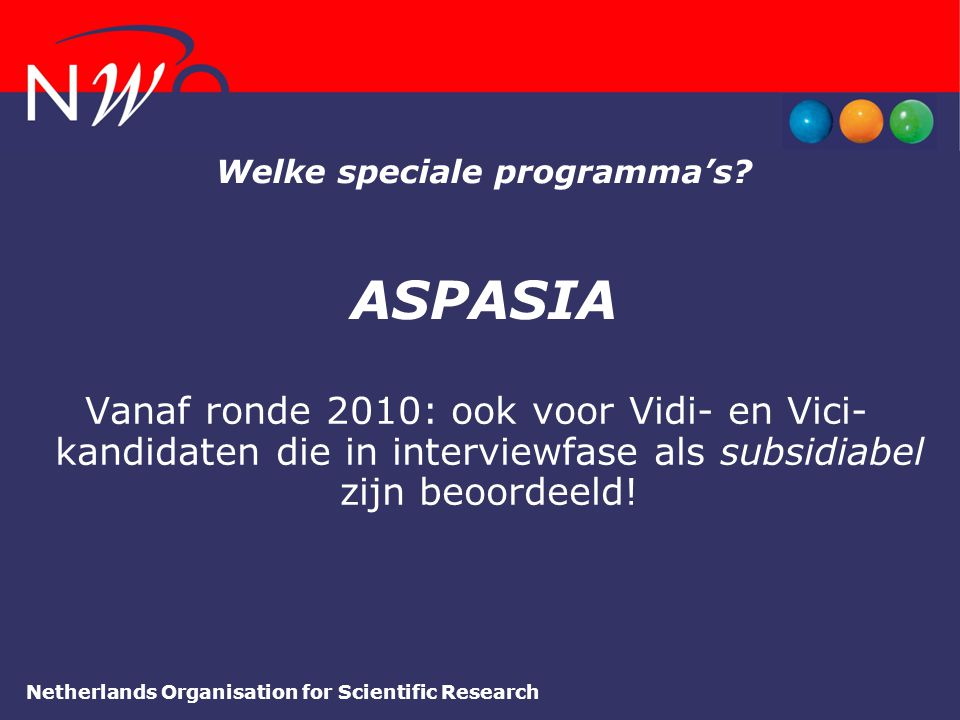 Welke speciale programma's ASPASIA