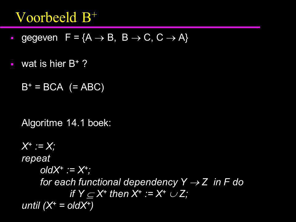 Voorbeeld B+ gegeven F = {A  B, B  C, C  A}