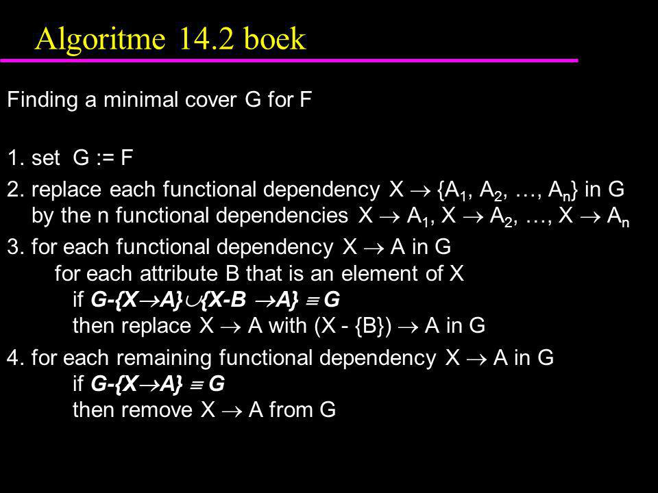 Algoritme 14.2 boek Finding a minimal cover G for F 1. set G := F