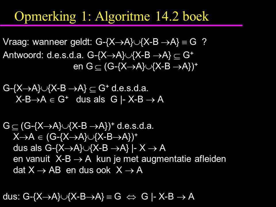 Opmerking 1: Algoritme 14.2 boek
