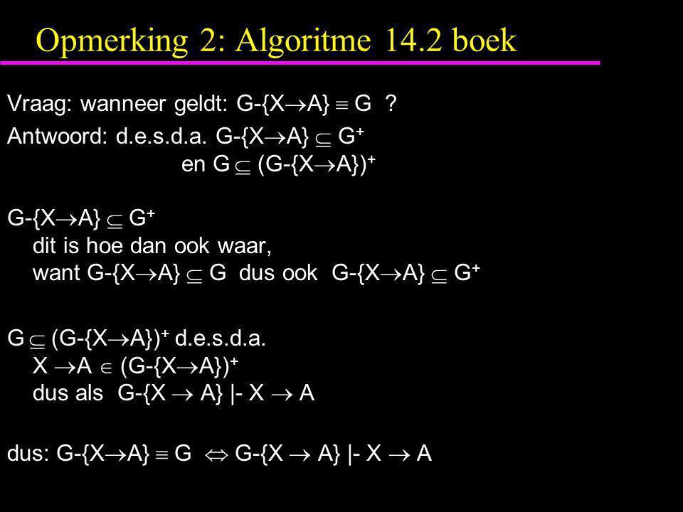 Opmerking 2: Algoritme 14.2 boek